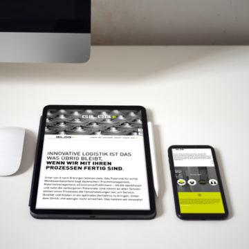 Darstellung Homepage Gilog auf Tablet und Smartphone